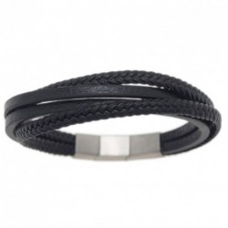 Bracelet ONE MAN SHOW cuir noir 4 rangs