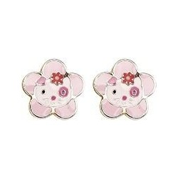 Puces d'oreilles Hello Kitty or jaune laque rose